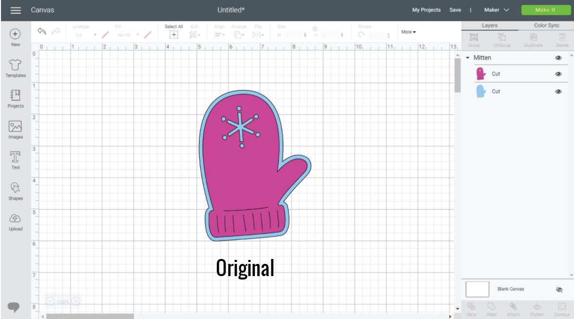 Left Mitten on the Canvas are in Cricut Design Space.