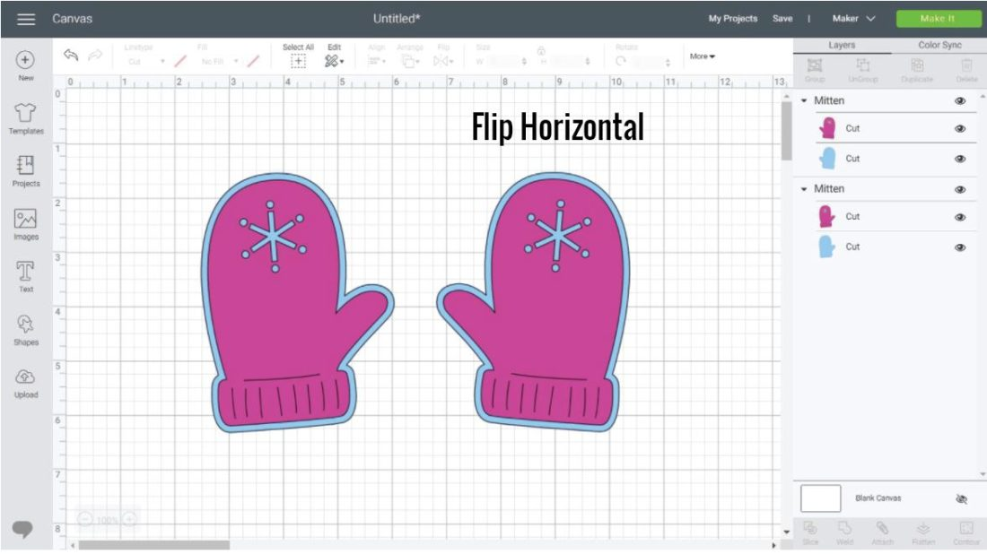 Left and Right Mitten in Cricut Design Space.