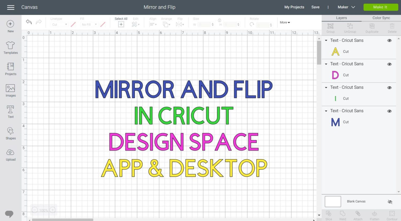 Featured Image Mirror Flip in Cricut Design Space, horizontal.
