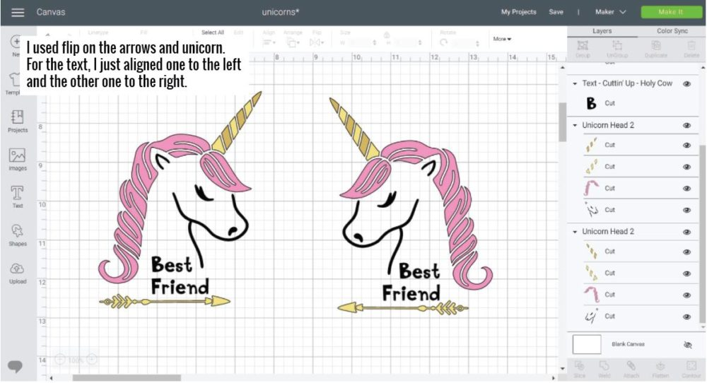 "Unicorn Best friend design looking at each other using ""FLIP"" in Cricut Design Space."