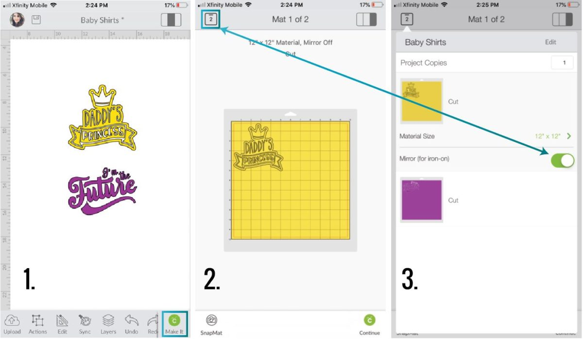 Steps to turn mirror-on in Cricut Design Space App.